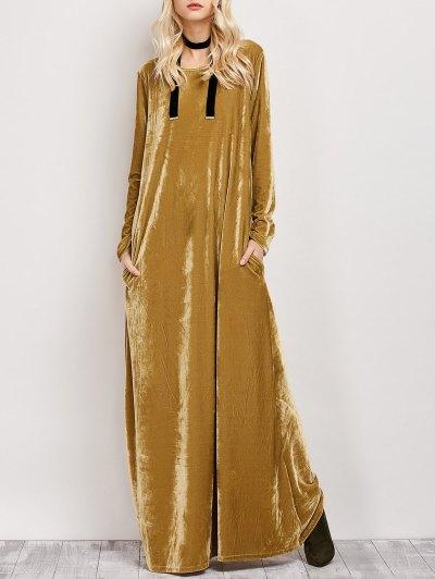 Velvet Long Sleeve Maxi Dress - EARTHY L Mobile