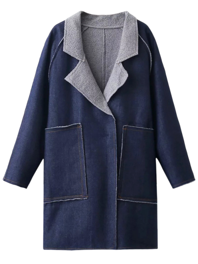 Fleece Lined Denim Oversized Coat - DEEP BLUE M Mobile