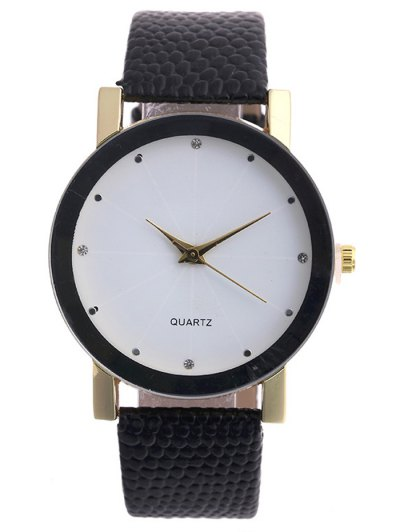 Snakeskin Pattern Faux Leather Analog Watch - WHITE  Mobile
