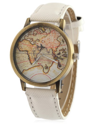 Faux Leather Map Quartz Watch - WHITE  Mobile