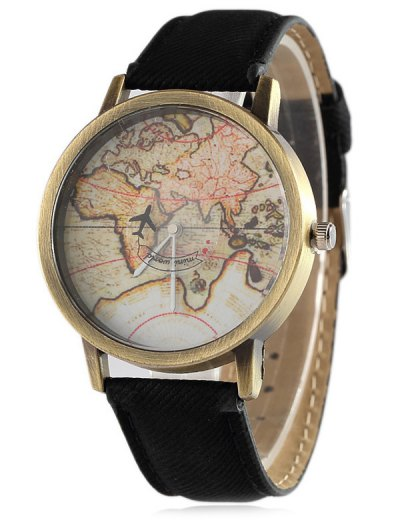 Faux Leather Map Quartz Watch - BLACK  Mobile