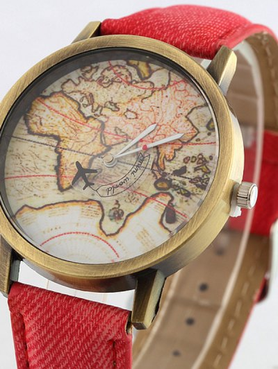 Faux Leather Map Quartz Watch - RED  Mobile