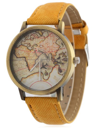 Faux Leather Map Quartz Watch - YELLOW  Mobile