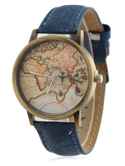 Faux Leather Map Quartz Watch - BLUE  Mobile