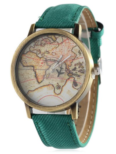Faux Leather Map Quartz Watch - GREEN  Mobile
