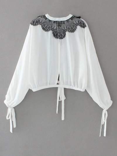 Contrast Lace Bow Tie Top - WHITE M Mobile