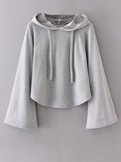 Slouchy Flare Sleeve Pullover Hoodie - GRAY L Mobile