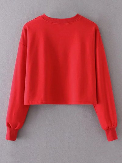 Cropped Selfie Sweatshirt - RED M Mobile