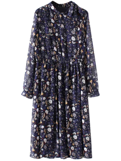 Printed High Collar Chiffon Dress - PURPLISH BLUE L Mobile