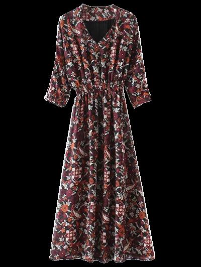 Imprimió El Vestido Maxi Cuello V