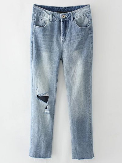 Light Wash Distressed Denim Pants - LIGHT BLUE L Mobile
