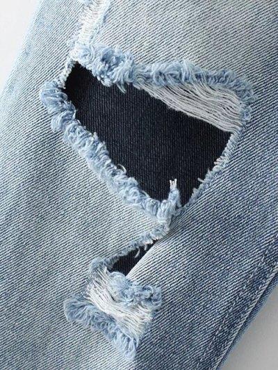 Light Wash Distressed Denim Pants - LIGHT BLUE M Mobile