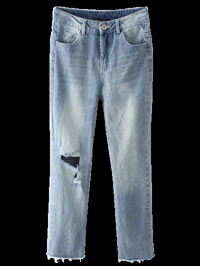 Light Wash Distressed Denim Pants - LIGHT BLUE S Mobile