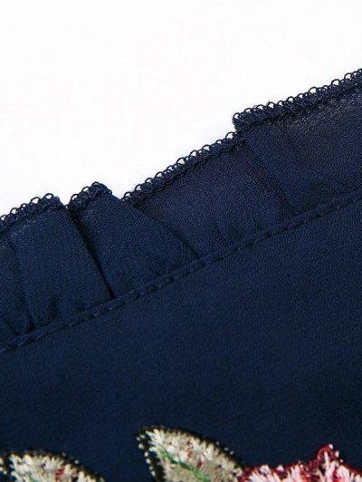 Embroidered Surplice Cami Romper - BLACK L Mobile