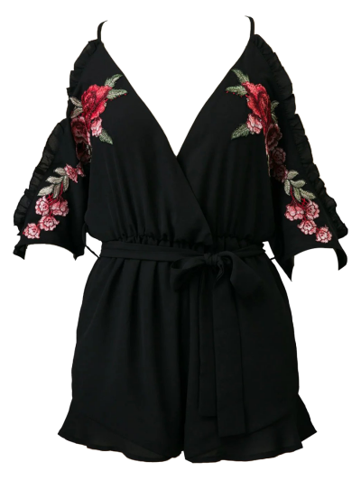 Embroidered Surplice Cami Romper - BLACK M Mobile