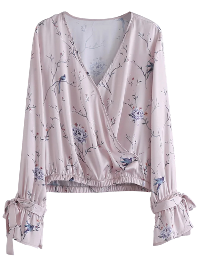 Belted Cuff Surplice Satin Printed Top - PALE PINKISH GREY L Mobile
