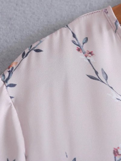 Belted Cuff Surplice Satin Printed Top - PALE PINKISH GREY M Mobile