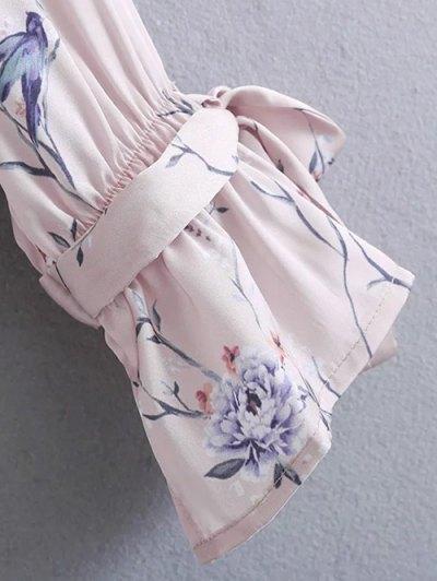 Belted Cuff Surplice Satin Printed Top - PALE PINKISH GREY S Mobile