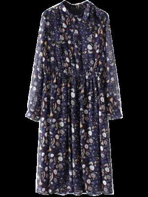 Printed High Collar Chiffon Flowing Dress - Purplish Blue
