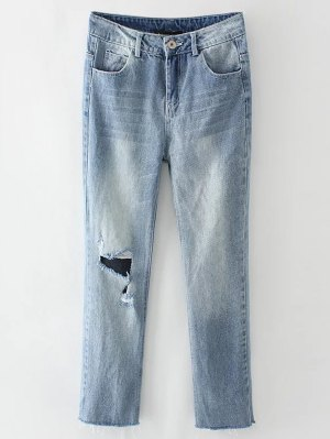 Light Wash Distressed Denim Pants - Light Blue