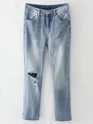 Light Wash Distressed Denim Pants - Light Blue
