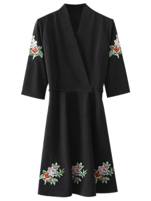 Back Tied Floral Embroidered Surplice Dress - Black