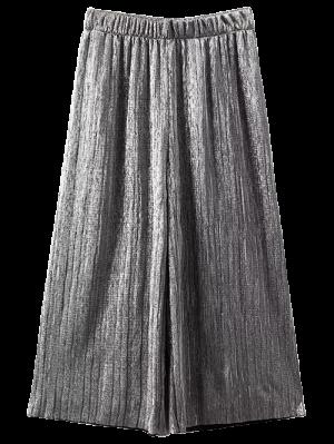 Pleated Glitter Culotte Capri Pants - Silver