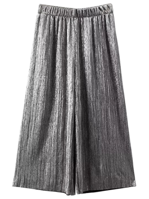 Pleated Glitter Culotte Capri Pants - Silver