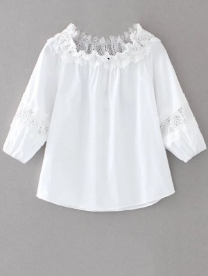 Boat Neck Lace Panel Top - White
