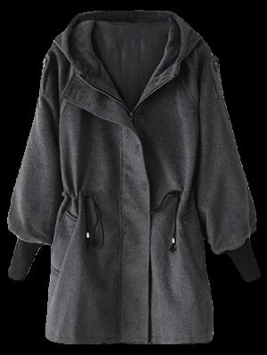 Hooded Wool Coat - Deep Gray