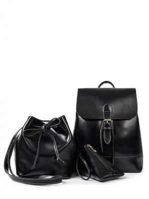 Buckle Strap Faux Leather Backpack Set - Black