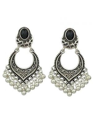Bead Tassel Drop Earrings - Silver