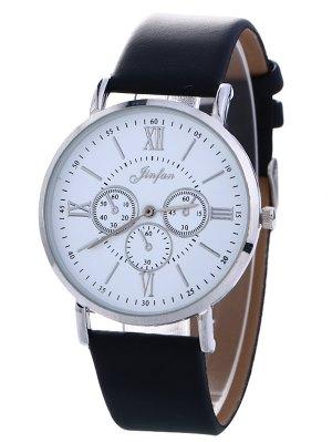 Reloj Cuero De Imitación Análogo Número Romano  - Negro