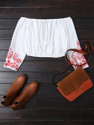 Embroidered Off The Shoulder Cropped Blouse - White