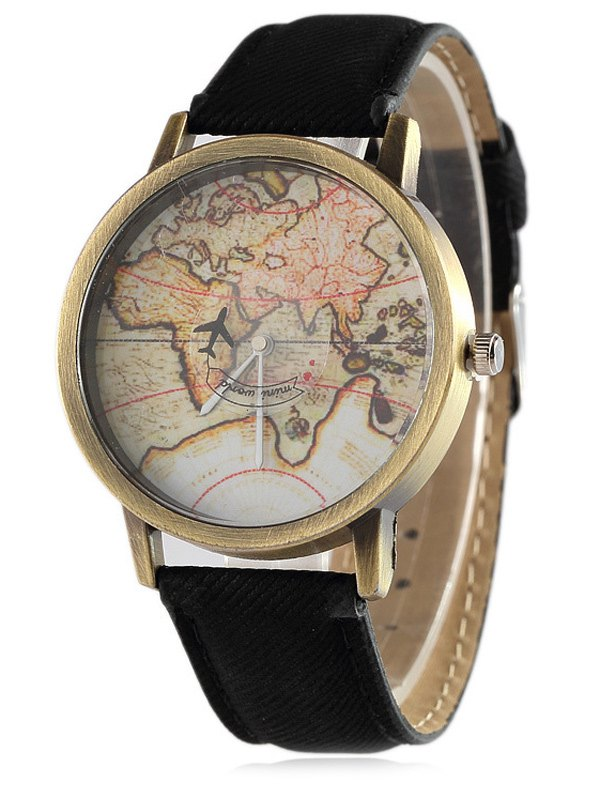 Faux Leather Plane Map Quartz Watch
