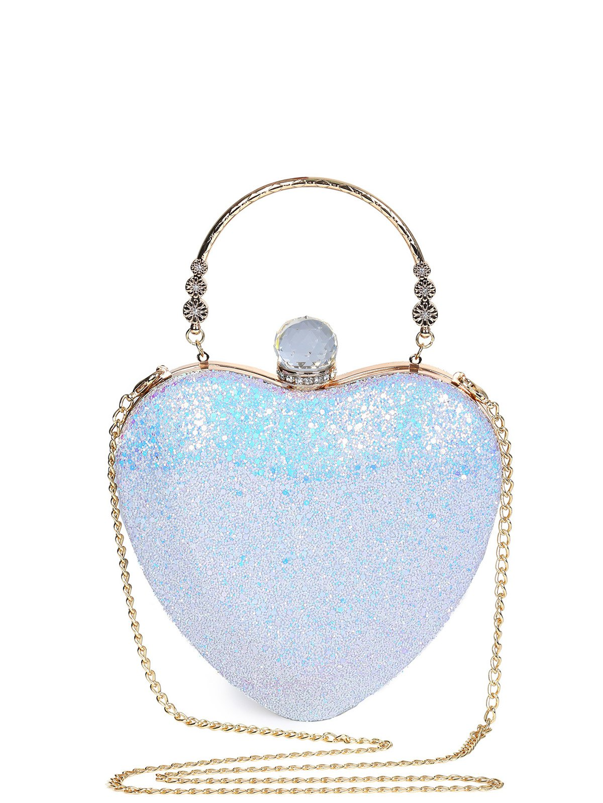 Metal Handle Heart Shape Evening Bag