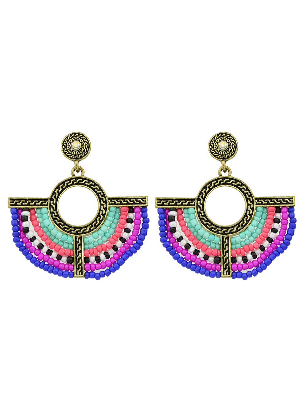 Bohemian Beads Circle Drop Earrings