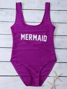 High Leg U Neck Swimsuit - Purplish Red
