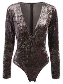 Plunging Neck Velvet Long Sleeve Bodysuit - Coffee Brown S
