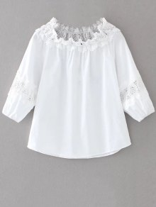 Boat Neck Lace Panel Top - White M