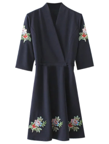 Back Tied Floral Embroidered Surplice Dress