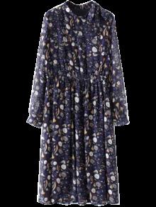 Impreso De Cuello Alto Vestido De La Gasa - Azul Purpúreo M