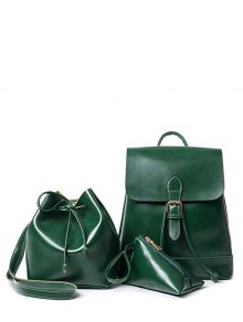 Buckle Strap Faux Leather Backpack Set - Green