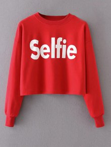 Cropped Selfie Sweatshirt - Red S