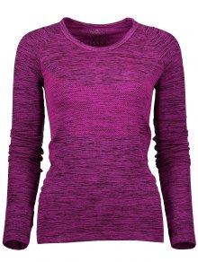 Long Sleeve Space Dye Running Top - Purplish Red S