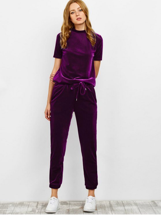 Velvet Tee and Jogging Pants Sweat Suit - PURPLISH RED L Mobile