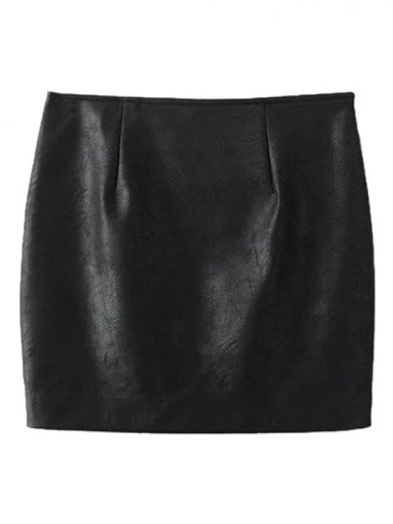 Faux Leather Floral Embroidered Skirt - BLACK M Mobile