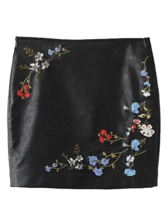 ladies Faux Leather Floral Embroidered Skirt - BLACK S