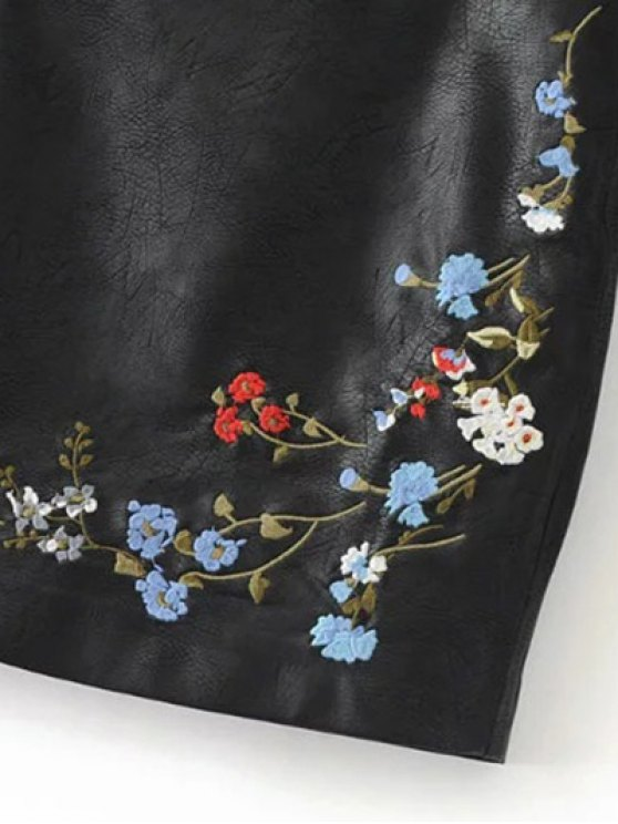 Faux Leather Floral Embroidered Skirt - BLACK S Mobile
