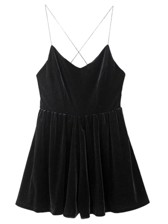 chic Low Back Slip Velvet Skirted Romper - BLACK S